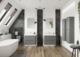 open large bathroom with his and hers sinks