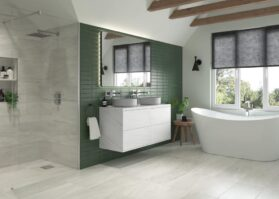bathroom with walk in shower and bath