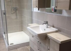 new bathroom with walk in shower